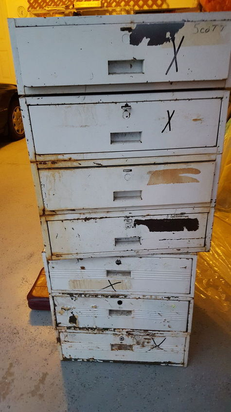repurposed heavy metal drawers, how to, painted furniture, Seven Drawers Seven Frames Two Towers
