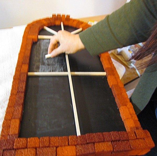 easy to make brick window chalkboard, chalkboard paint, crafts, repurposing upcycling, wall decor