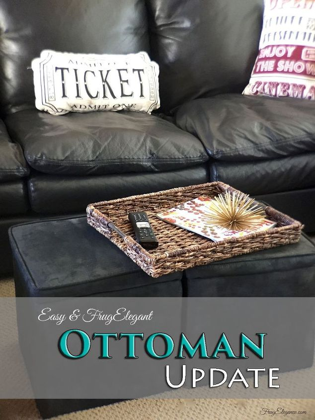 easy ottoman update, painted furniture, reupholster