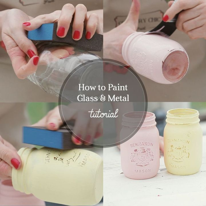 how to paint glass and metal, crafts, mason jars, painting, shabby chic