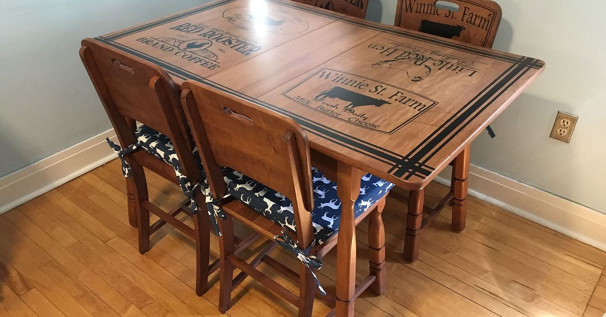 graceful cheap kitchen table and chair design | Refinished Kitchen Table & Chairs With Beautiful ...