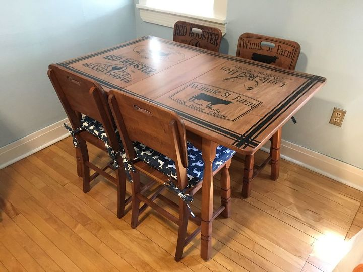 Refinished Kitchen Table Chairs With Beautiful Stenciling