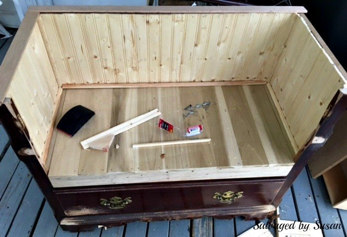 repurposed entertainment center to bench, diy, entertainment rec rooms, outdoor furniture, painted furniture, repurposing upcycling