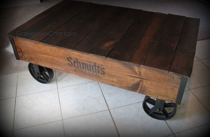 industrial cart pallet wood coffee table, diy, pallet, repurposing upcycling, rustic furniture, woodworking projects