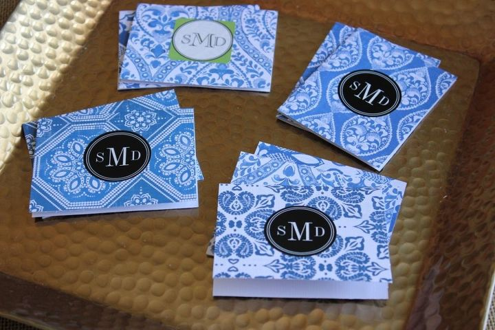 diy chinoiserie design monogram notecards, crafts