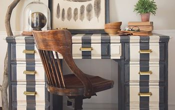 striped desk in annie sloan chalk paint, chalk paint, painted furniture