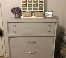 q should i paint or refinish, painted furniture, I repainted this piece using Glidden in pebble grey I kept the original hardware just spray painted it silver I am so pleased with how this turned out