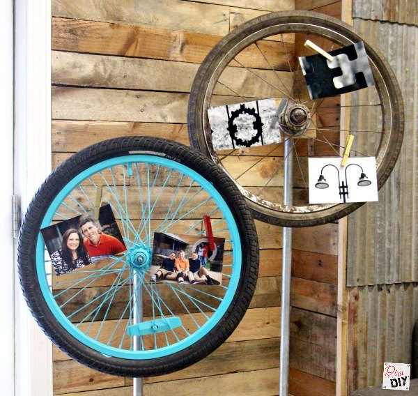 unique memo board made with bicycle tires , repurposing upcycling