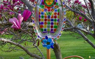 1st try at glass painted stained garden flower art , crafts, gardening, repurposing upcycling, Happy Mothers Day