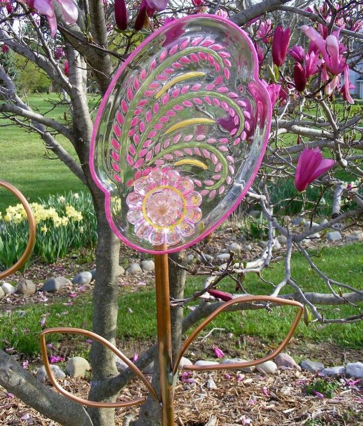 1st try at glass painted stained garden flower art , crafts, gardening, repurposing upcycling