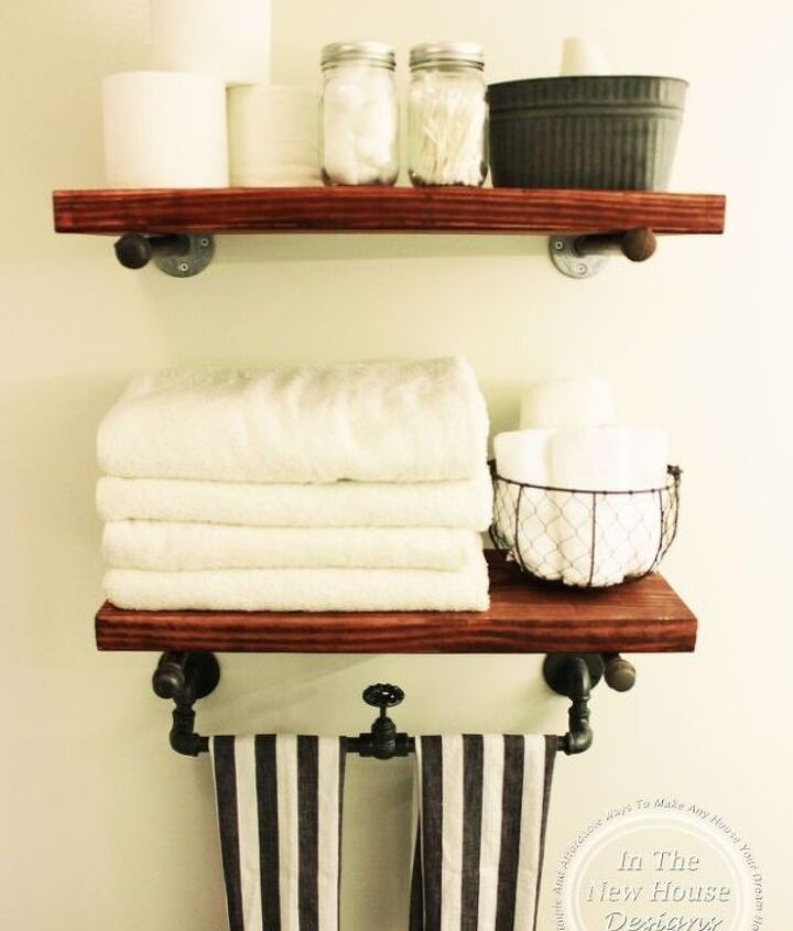 diy industrial farmhouse shelving, bathroom ideas, rustic furniture, shelving ideas