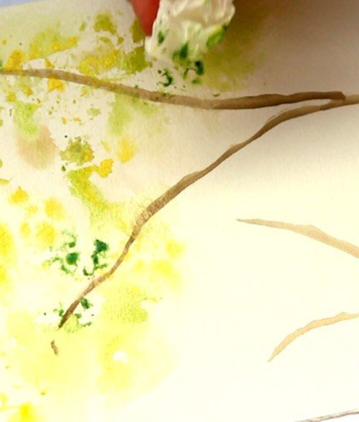 paint spring tree watercolor with crumbled paper, crafts, how to