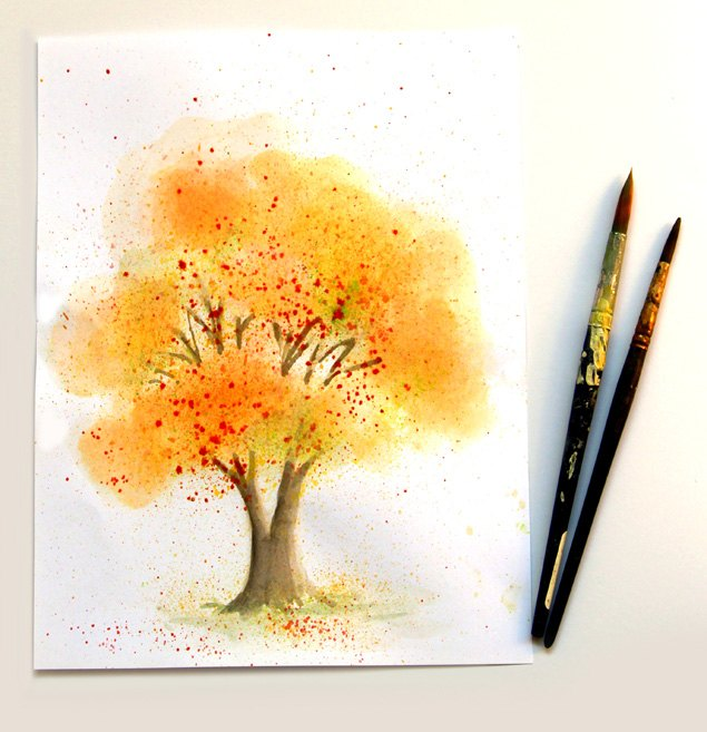 Paint Spring Tree Watercolor With Crumbled Paper   Hometalk