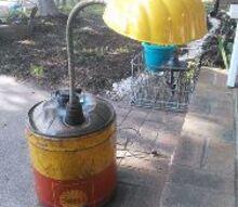 shell oil canister turned shell lamp, lighting, repurposing upcycling