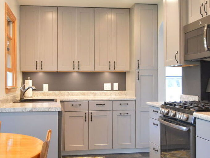 Kitchen Remodel With Gray Cabinets | Hometalk on gray trim remodel, traditional white kitchen remodel, gray bath remodel,