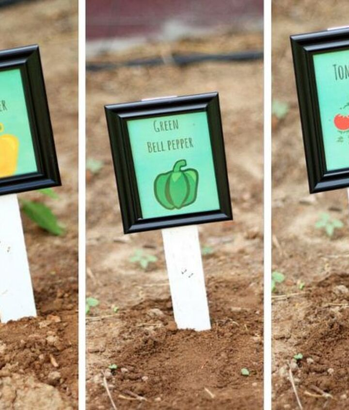s 12 adorable plant markers from your junk drawer, gardening, repurposing upcycling, Find those mini photo frames you meant to use