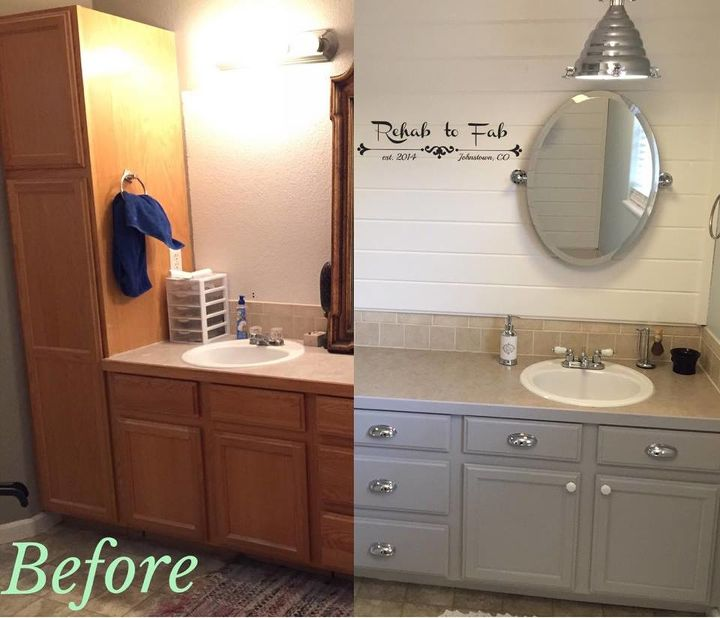 my master bath got a shiplap transformation bathroom ideas diy painting wall before and after - Painted Bathroom Cabinets Before And After