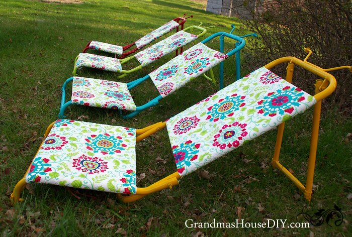 diy sun loungers out of old goose hunting chairs , outdoor furniture, painted furniture