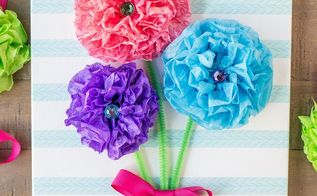 tissue paper flower bouquet canvas, crafts, how to, wall decor