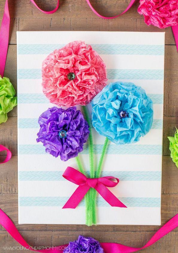 Tissue paper flower bouquet canvas hometalk tissue paper flower bouquet canvas crafts how to wall decor mightylinksfo
