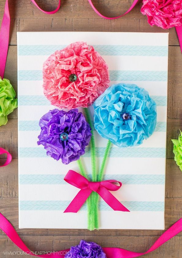 Tissue paper flower bouquet canvas hometalk tissue paper flower bouquet canvas crafts how to wall decor mightylinksfo Gallery