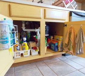 Kitchen Sink Storage Ideas Part - 17: Utilize Your Cabinet Doors With Hooks U0026 Bins