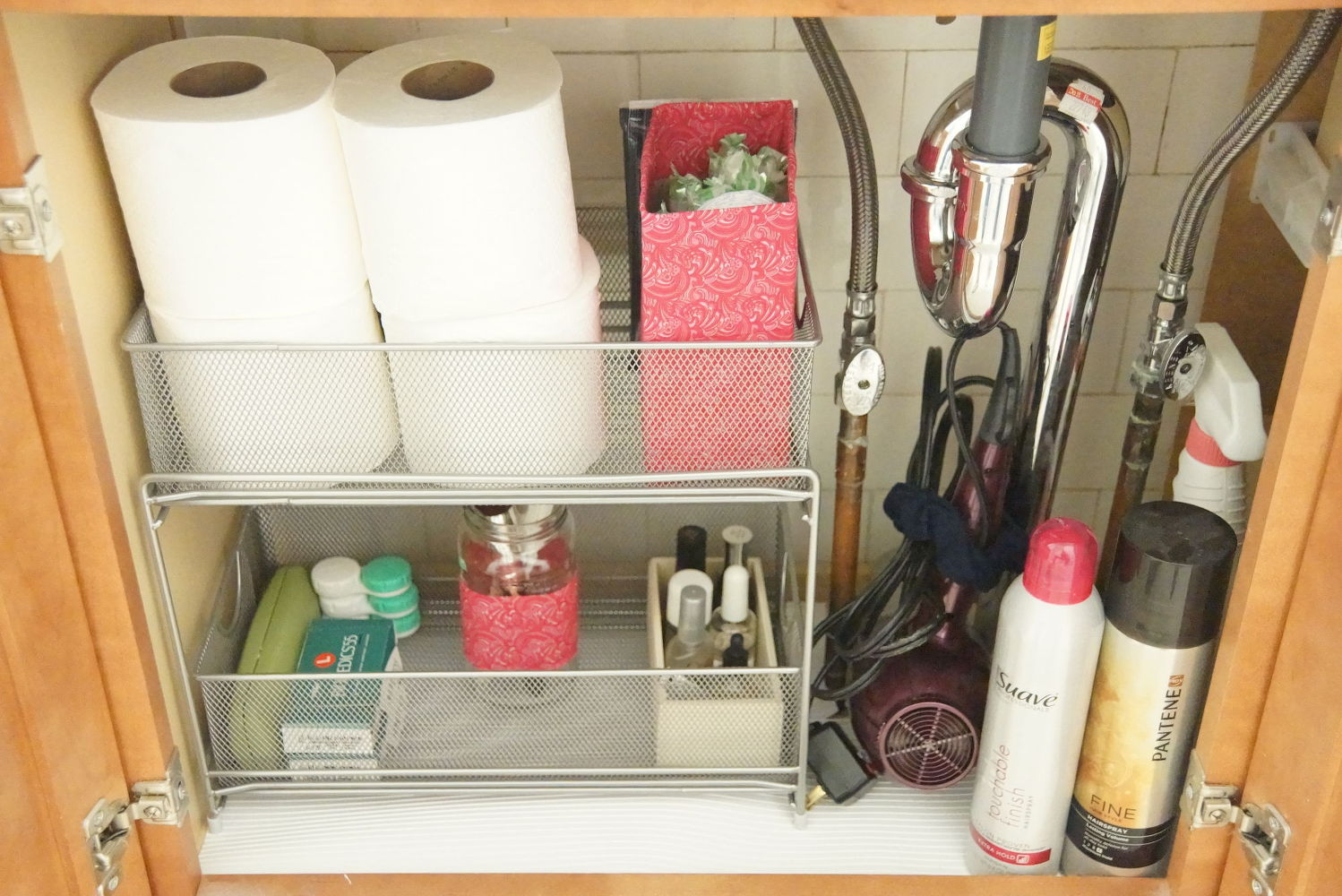 The 15 smartest storage hacks for under your sink hometalk for Under counter bathroom storage ideas