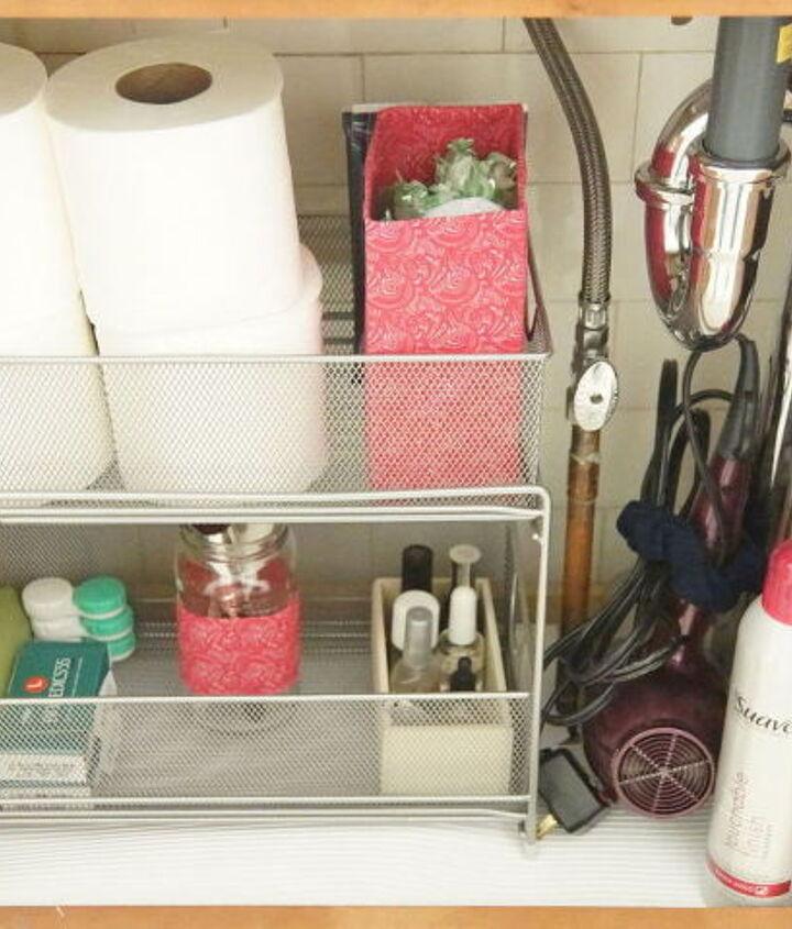 s the 15 smartest storage hacks for under your sink, bathroom ideas, storage ideas, Turn cardboard boxes into pretty bag storage