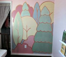 copper outlined whimsical forest mural, painting, wall decor