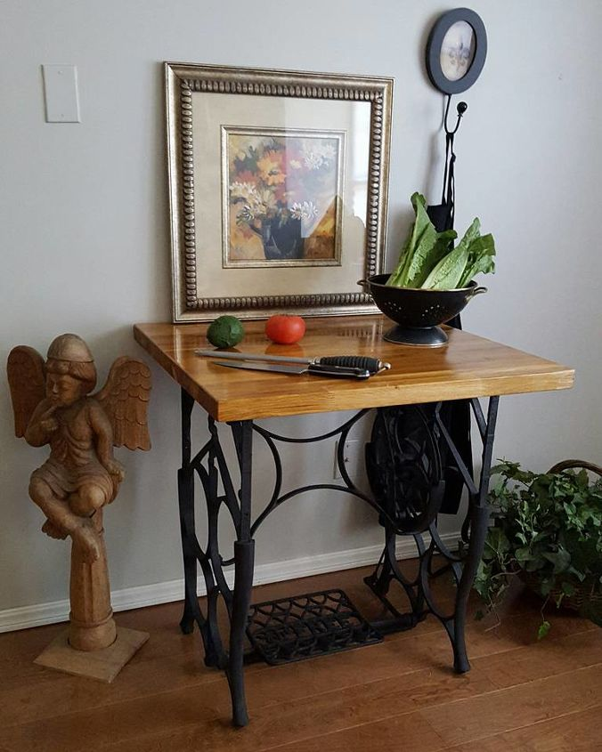 30 Brilliant Kitchen Island Ideas That Make A Statement: Sewing Machine Trestle And Butcher Block Table