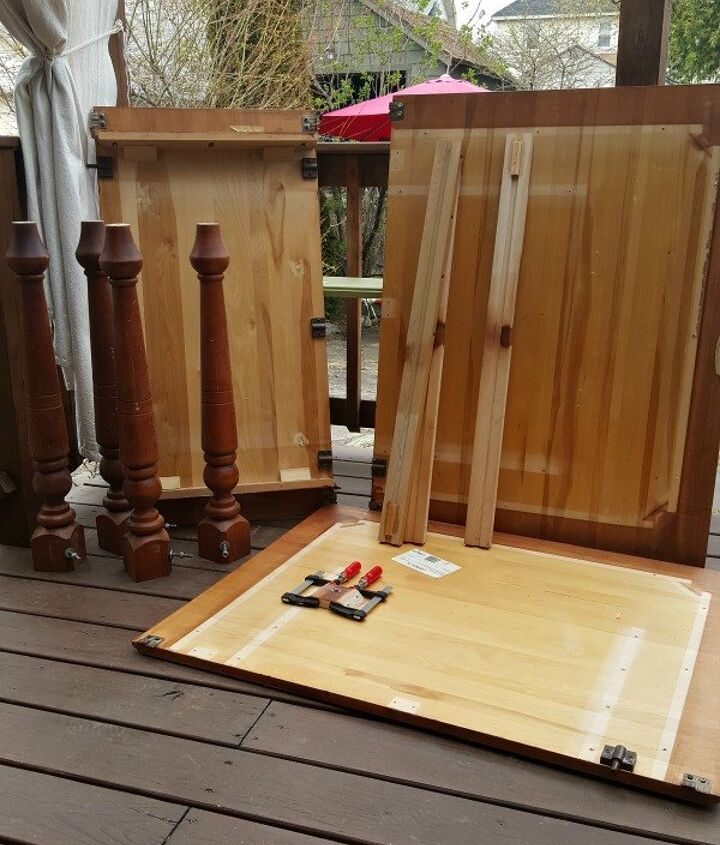 diy farmhouse table aka franken table , dining room ideas, diy, how to, painted furniture, woodworking projects