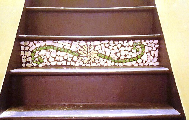 turning the stairway into a work of unexpected art , crafts, stairs