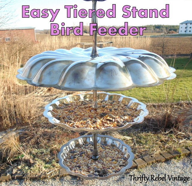 repurposed tiered stand bird feeder, animals, crafts, gardening, how to, outdoor furniture, pets animals, repurposing upcycling