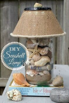 diy seashell lamp, crafts, lighting, seasonal holiday decor