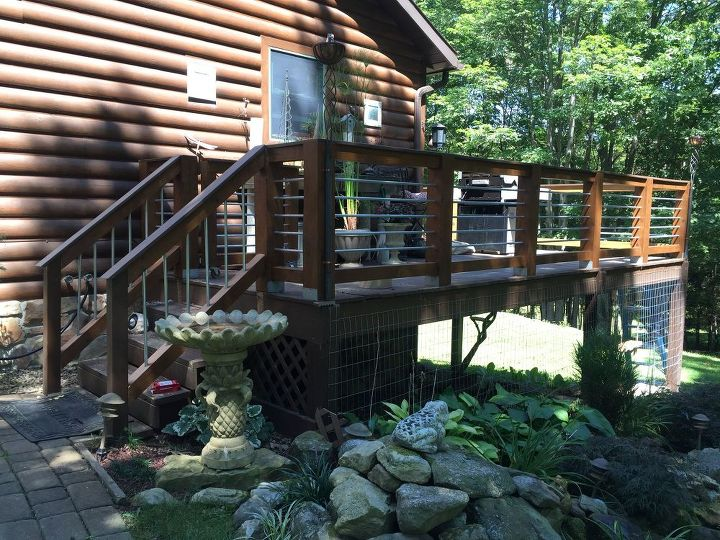 new hand rail for our deck made out of conduit, decks, diy, landscape, outdoor living, ponds water features