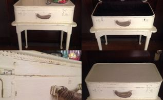 suitcase accent table, painted furniture, repurposing upcycling