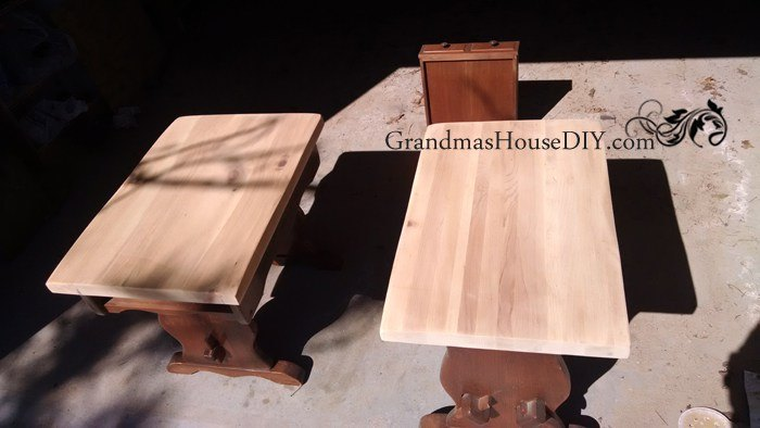 two end tables get a sweet country makeover before and after, living room ideas, painted furniture, rustic furniture