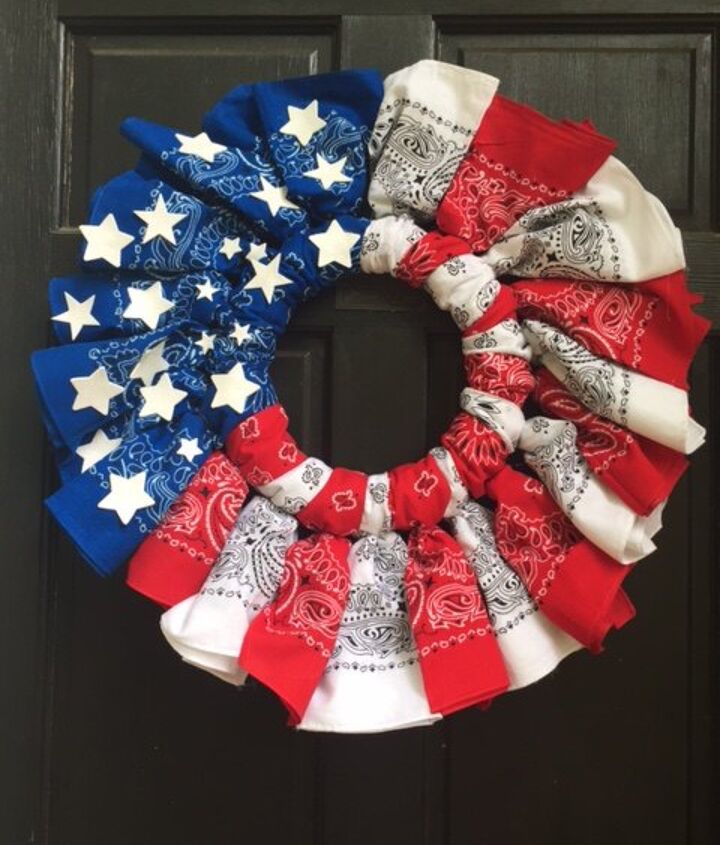 Red White And Blue Ti Ful Bandana Wreath Hometalk
