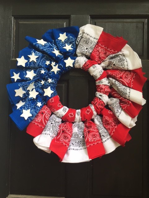 red white and blue ti ful bandana wreath, crafts, how to, patriotic decor ideas, wreaths