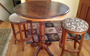 yard sale pub table and stools makeover, outdoor furniture, painted furniture, reupholster
