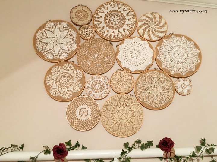 Crochet vintage doilies on embroidery hoops wall collage - Crochet mural vintage ...