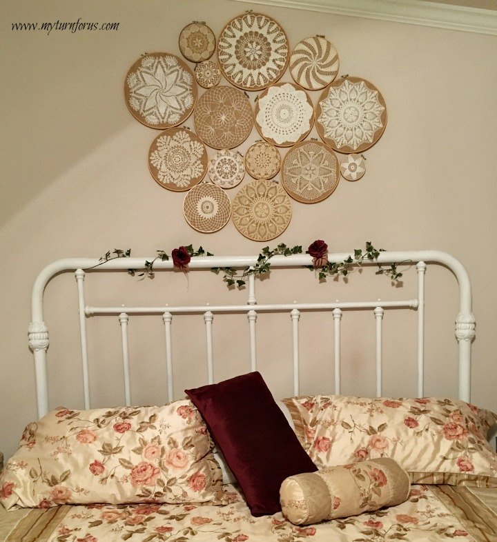 crochet vintage doilies on embroidery hoops wall collage hometalk. Black Bedroom Furniture Sets. Home Design Ideas