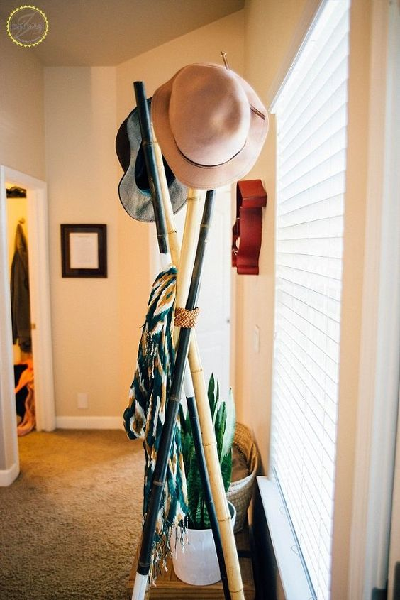 easy bamboo post hat rack, diy, rustic furniture, woodworking projects