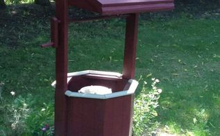 wishing well makeover, outdoor furniture, outdoor living, painted furniture