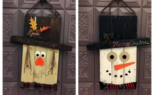 reversible pallet door hangers snowman scarecrow, christmas decorations, doors, halloween decorations, pallet, seasonal holiday decor, thanksgiving decorations, woodworking projects