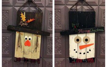 reversible pallet door hangers snowman scarecrow, christmas decorations, doors, halloween decorations, pallet, seasonal holiday decor, thanksgiving decorations, woodworking projects
