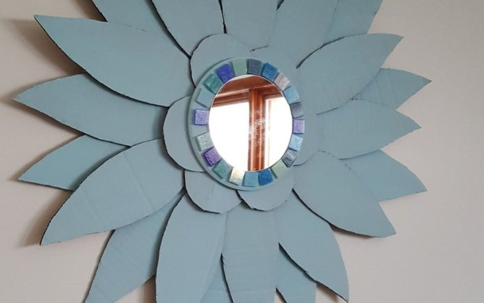 s 15 brilliant ways to reuse your empty cardboard boxes, home decor, repurposing upcycling, Craft a Huge Floral Mirror