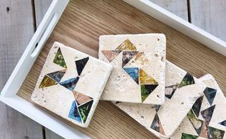 geometric tile coasters, crafts, how to, tiling