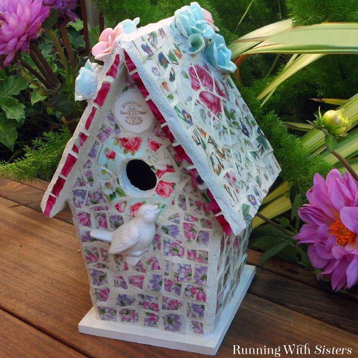 broken china mosaic birdhouse, crafts, gardening, repurposing upcycling