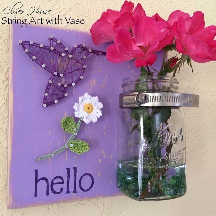 string art with a mason jar vase, crafts, mason jars